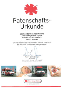 Certificate of Patron of the emergency baby ambulance