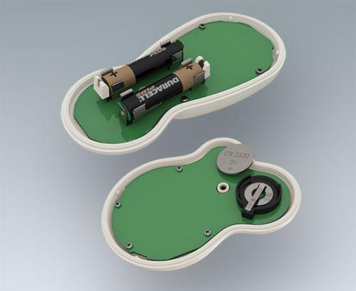 Knopfzellenhalter und Batteriekontakte