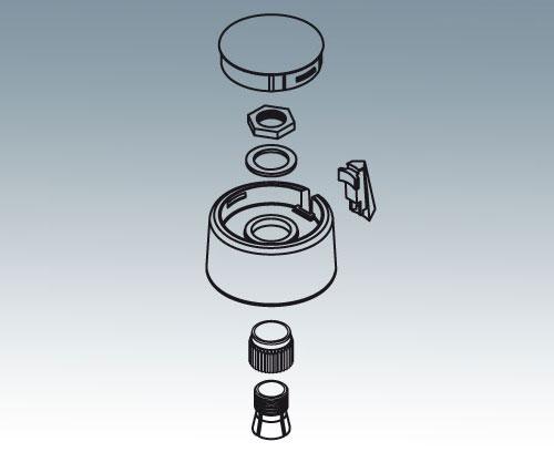 Spannzangensystem für Drehpotentiometer mit runden Wellenenden nach DIN 41591