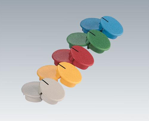 Deckel in unterschiedlichen Farben, mit und ohne Strich