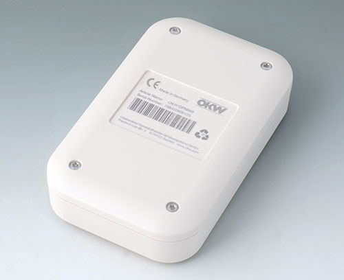 EVOTEC aus ASA+PC-FR (UL 94 V-0), grauweiß mit Laserbeschriftung
