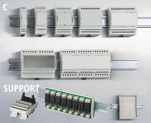 Modulare DIN-Schienengehäuse und Baugruppenträger
