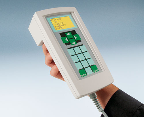 Handheld enclosure for control systems in production and for outdoors