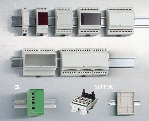 Modular DIN rail enclosures and PCB holders