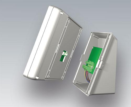 Le boitier s'emboîte sur le socle, fermeture par loquet rotatif pour plus de sécurité
