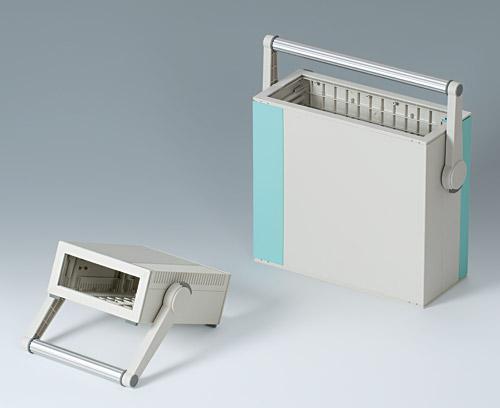 Poignée étrier en matière plastique avec profilé aluminium