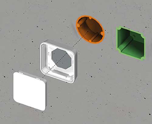 Des boitiers pour l'installation sur des boîtes d'encastrement / boîtes cloison sèche